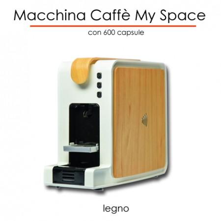 Macchina caffè MYSPACE effetto LEGNO in comodato d'uso con 300 capsule